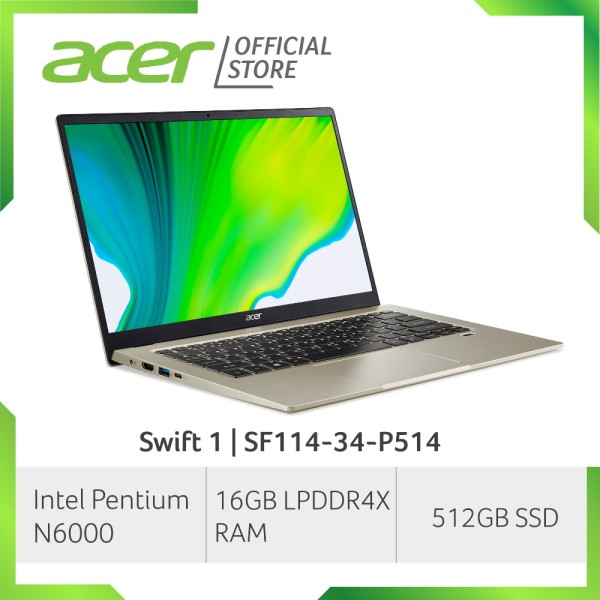 [2021 NEW MODEL] Acer Swift 1 SF114-34-P514 14 Inch FHD IPS Thin and Light Laptop | 16GB LPDDR4X RAM