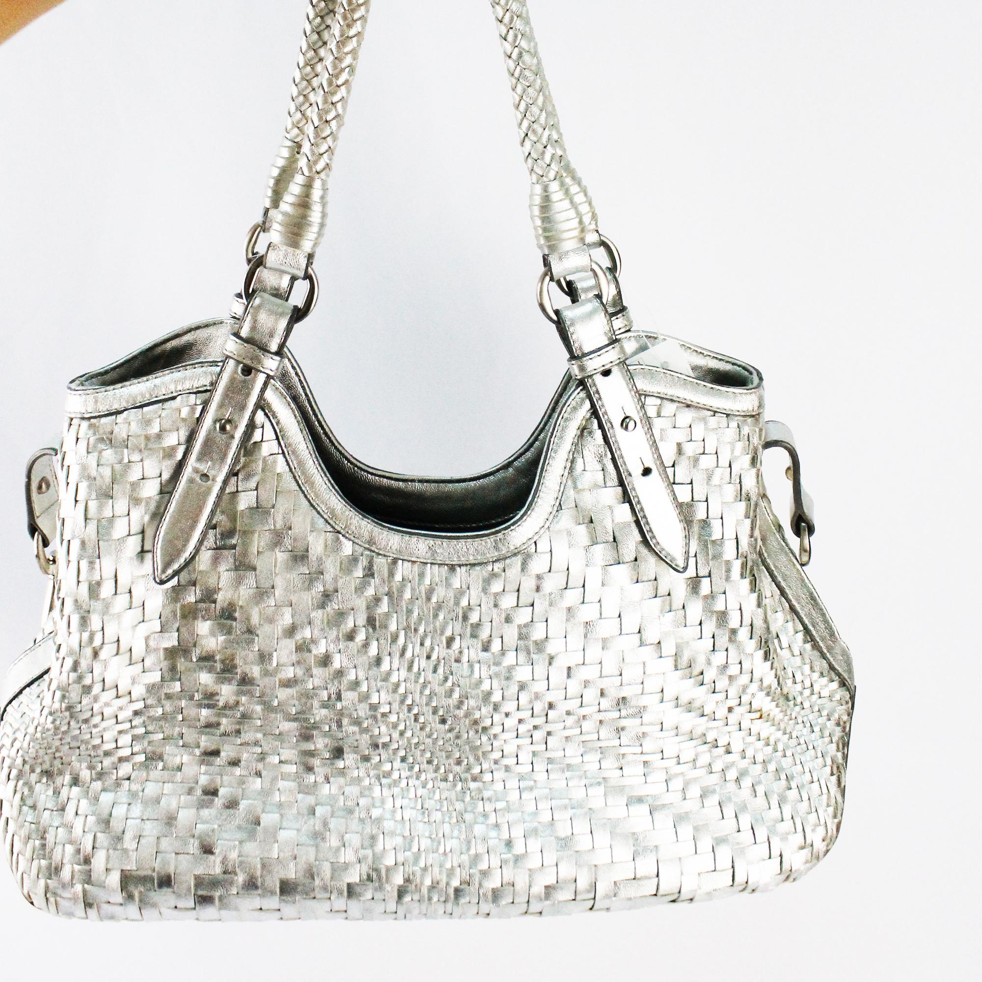 67a1ffe5016 COLE HAAN - Genevieve Woven Triangle Tote Satchel In Silver Leather  (Preowned-like new