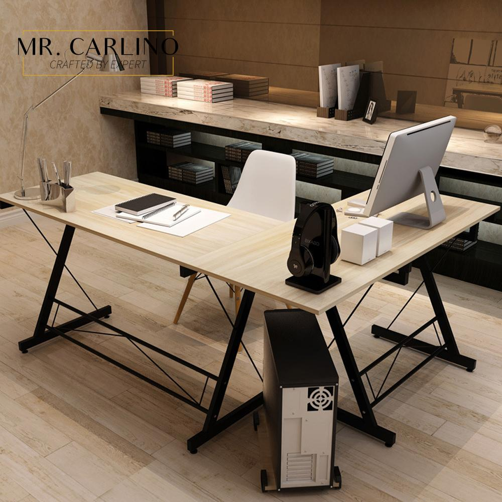 GARCIA Classic Workspace L Shape Home Office Table / Computer or Laptop Desk/ Workstation Desk with Keyboard Tray