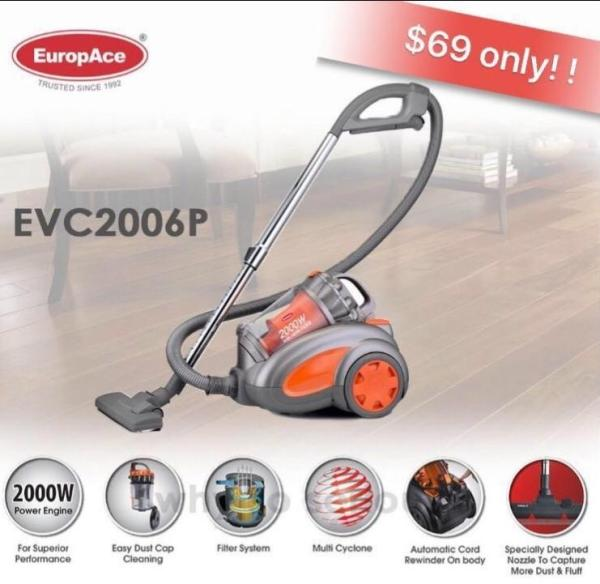 EuropAce 2000W Multi-Cyclone Bagless Vacuum Cleaner with Hepa Filter Singapore