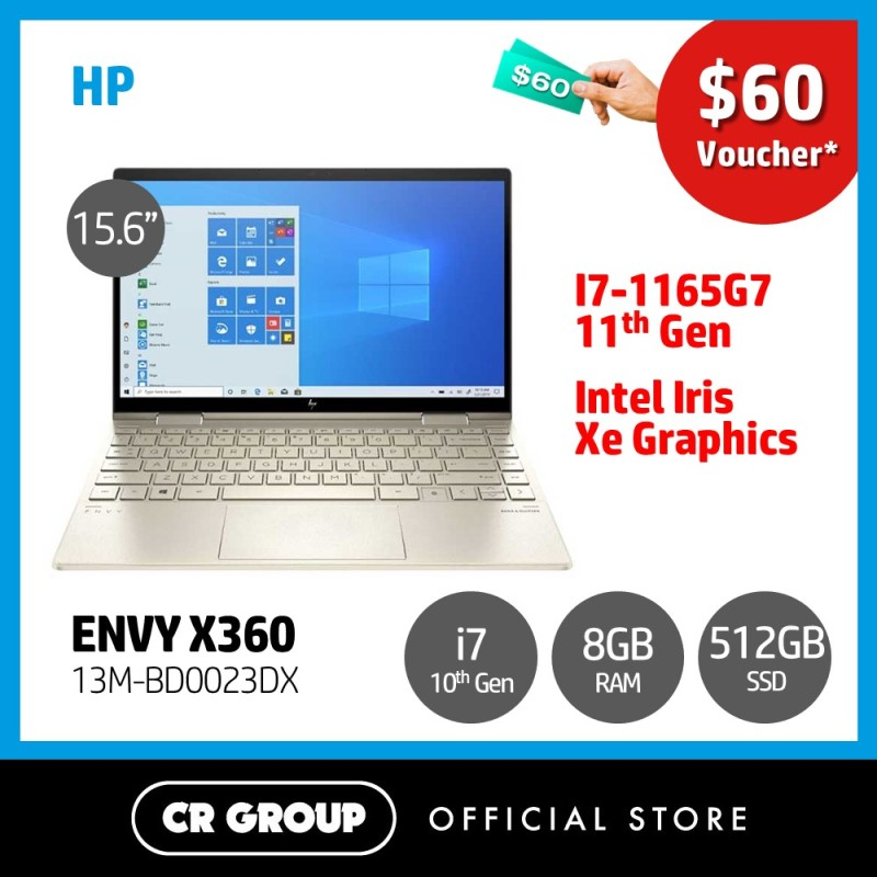 [Same Day Delivery] HP ENVY X360 13M-BD0023DX 13.3 FHD MultiTouch | 11th Gen i7-1165G7 | 8GB DDR4 RAM | 512GB PCle SSD | Intel Iris Xe Graphics