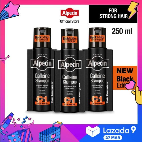 Buy [Bundle 3] Alpecin Caffeine Shampoo C1 Black Edition (250ml) – hair loss shampoo, reduce hairfall, men Singapore