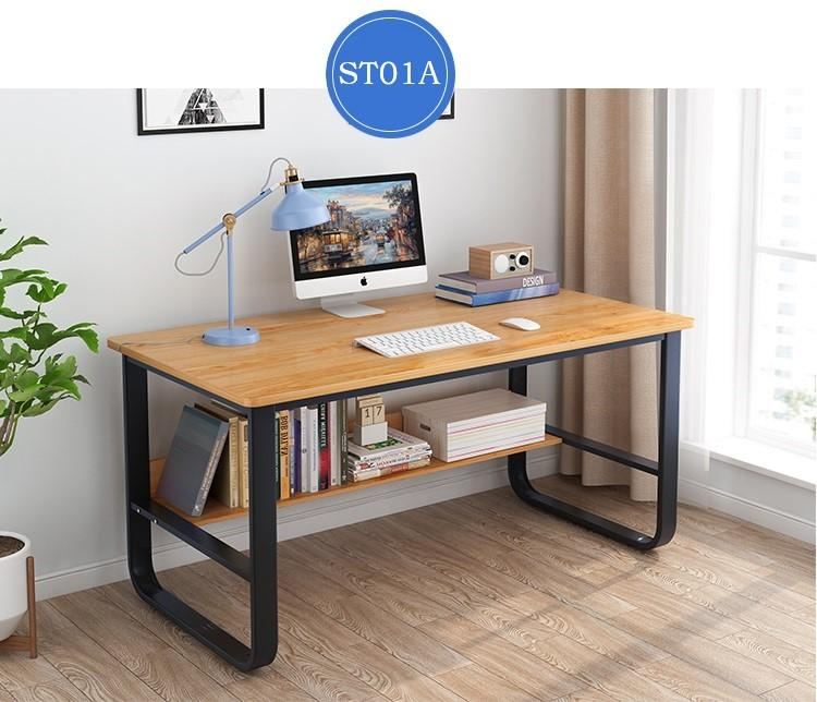 Study Table Free Delivery Free Installation - Steel Frame + Shelf + Wooden Board -ST01A