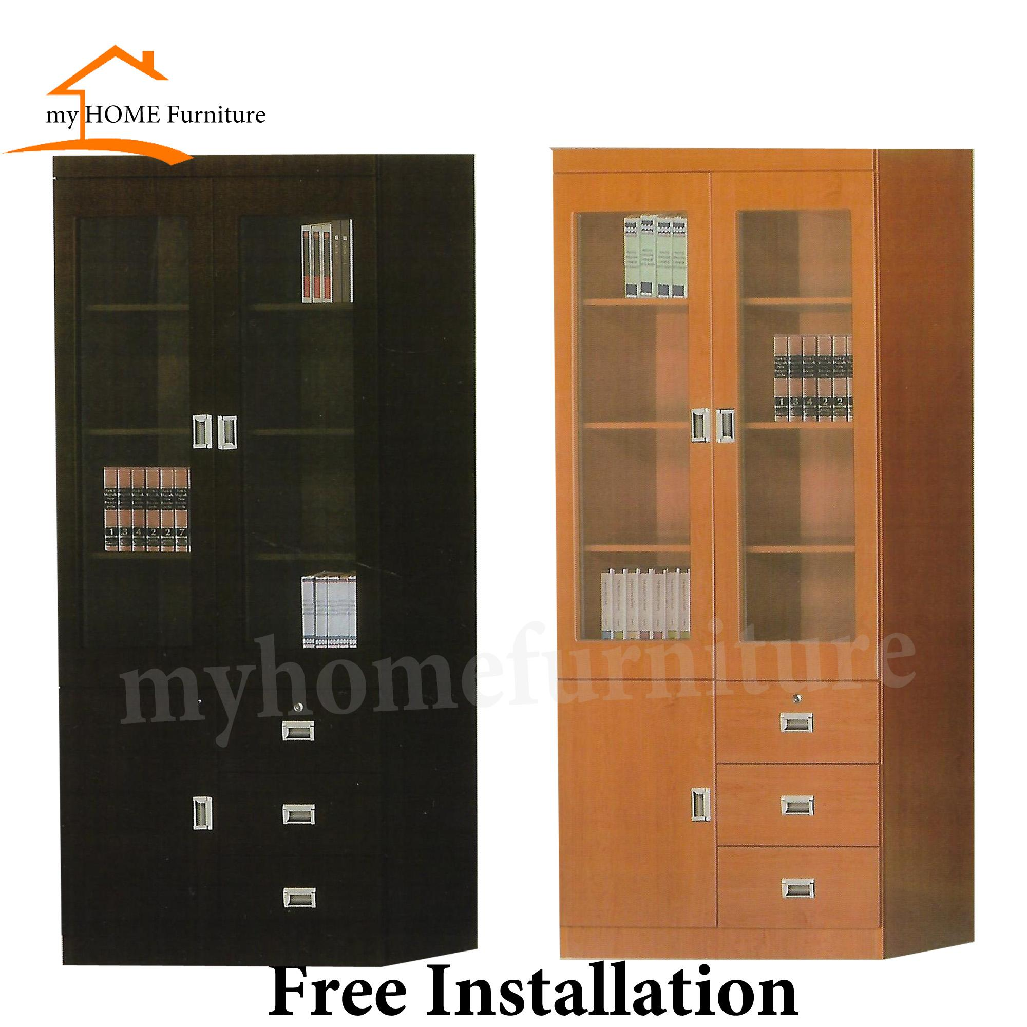 Den II 2 Glass Doors Bookshelf/ Cabinet / Filling Cabinet W/ Drawers (Free Delivery and Installation) (2 Colours)