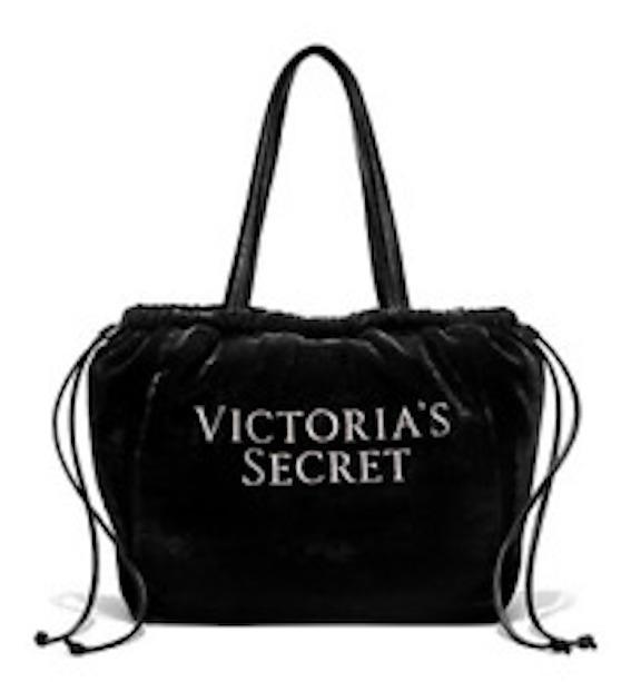 a15dee887e Victoria s Secret Diamante velvet lux faux leather drawstring tote bag