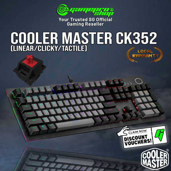 NEW Cooler Master CK352 Gaming Mechanical RGB Keyboard Dual-tone Keycap (Linear/Clicky/Tactile)- (2Y) Singapore