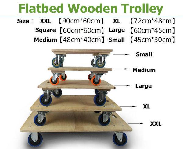 Flatbed Wooden Trolley Heavy Duty Size Medium