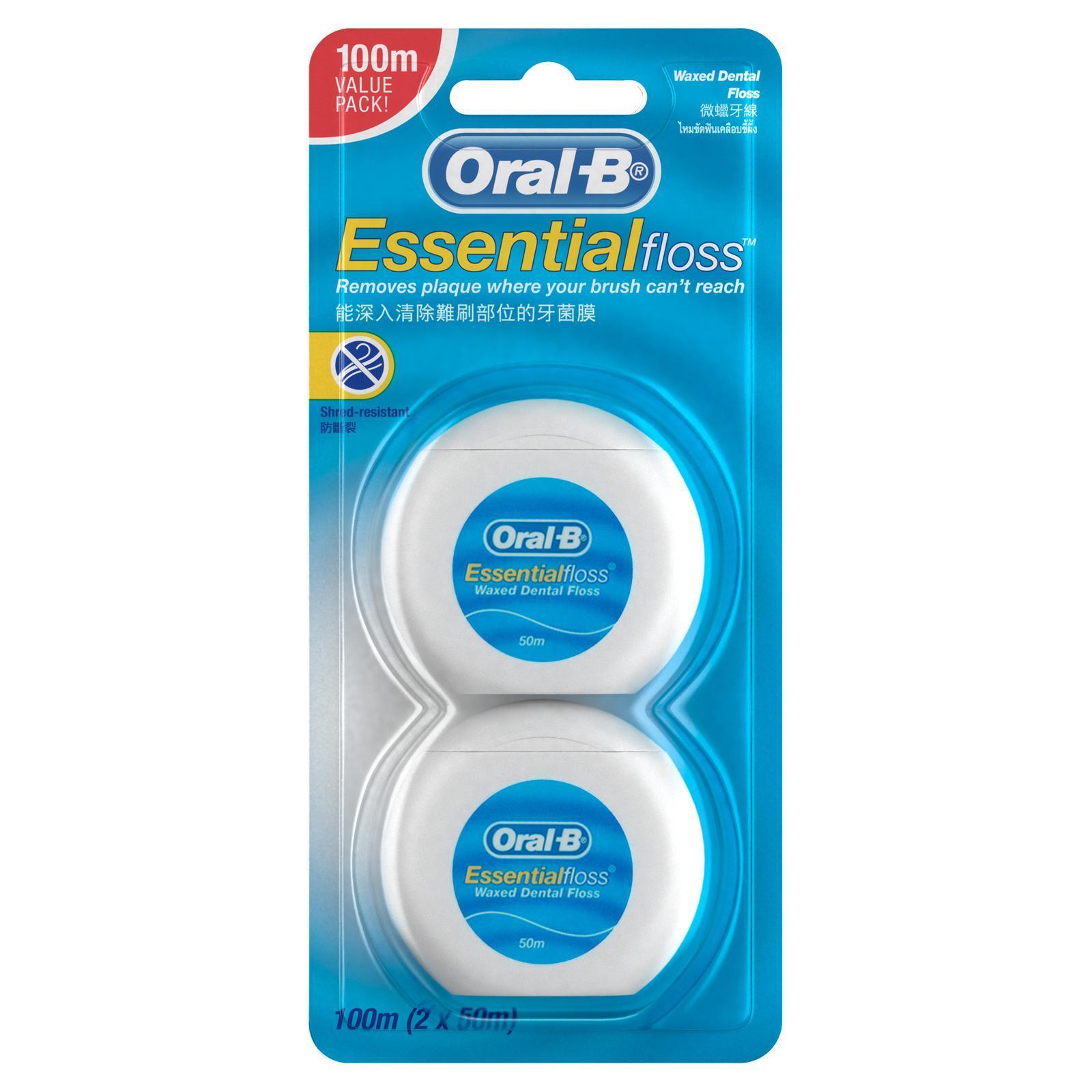 Oral-B EssentialFloss Waxed Dental Floss - 2x50M