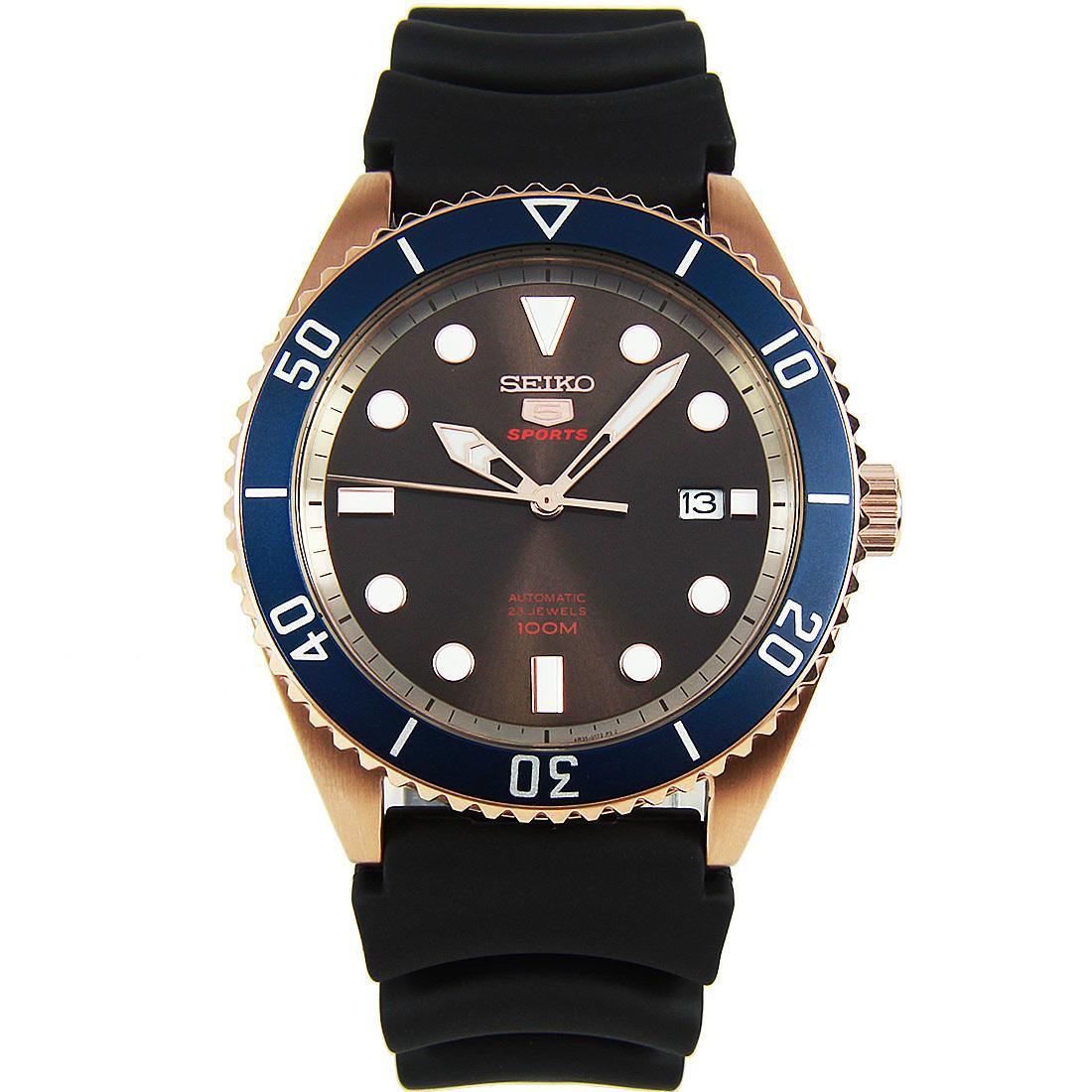 Seiko 5 Sports Automatic Black Silicone Strap Watch SRPB96 SRPB96K1