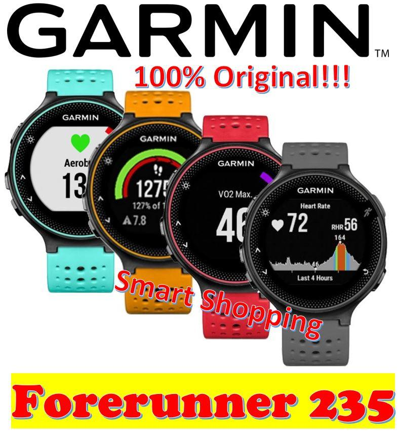 [100% Original local stock] Garmin Forerunner 235 (choice of Black-Grey,  Lava-Red, Solar, Frost-Blue) Smart Watch GPS Smartwatch with wrist based