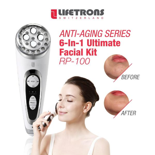 Buy Lifetrons 6-In-1 Ultimate Facial Kit with Skin Treatment Technology (RP-100) - radio frequency / intermediate frequency intermittent pulse / electrical muscle stimulation and electroporation for anti-aging skincare treatment (SG) Singapore