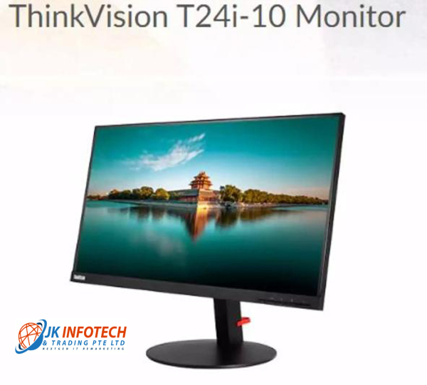 Lenovo ThinkVision T24i-10 24 inch (Actual size 23.8 inch) 4K Wide Screen Full HD 1920 x 1080 4ms VGA DisplayPort HDMI In-Plane Switching Panel Near Edgeless Monitor(Refurbished)