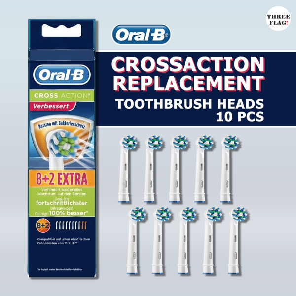 Buy Oral-B Braun Crossaction EB50 Replacement Rechargeable Toothbrush Heads(10 Count) Singapore