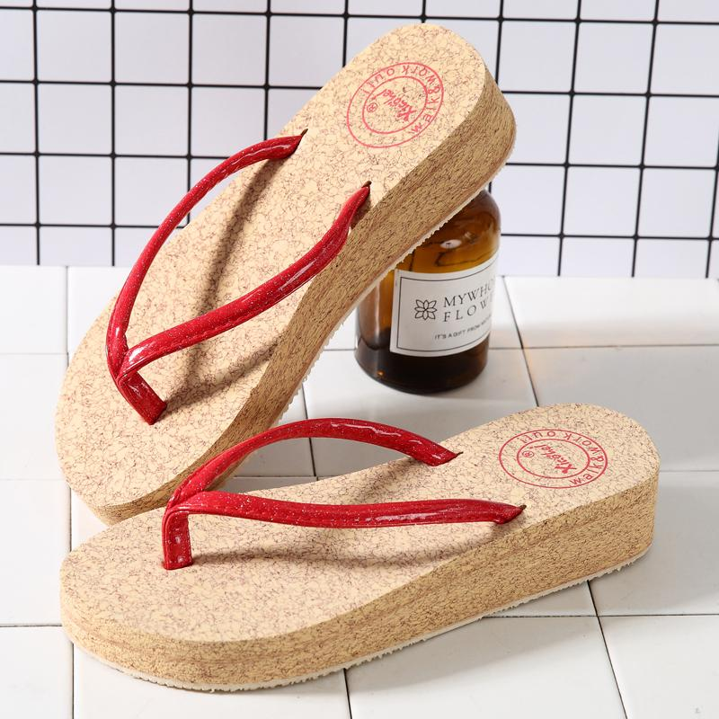 3a22cafc57fb Fashion Flip-flops Female Sweet Sandals Thick Bottomed Slanted Heel Semi-high  Heeled Flat