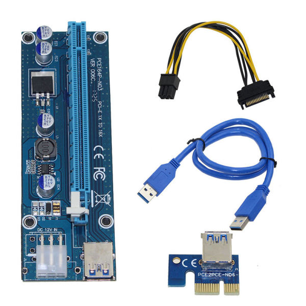 Pci-E Riser Pci E Express 1X To 16X Riser Card Usb 3.0 Pci-E Sata To 6Pin Power Cable For Btc Bitcoin Mining Antminer Miner