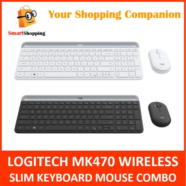 Logitech MK470 Combo Wireless Slim Keyboard Mouse Graphite Off White 1 Year SG Warranty