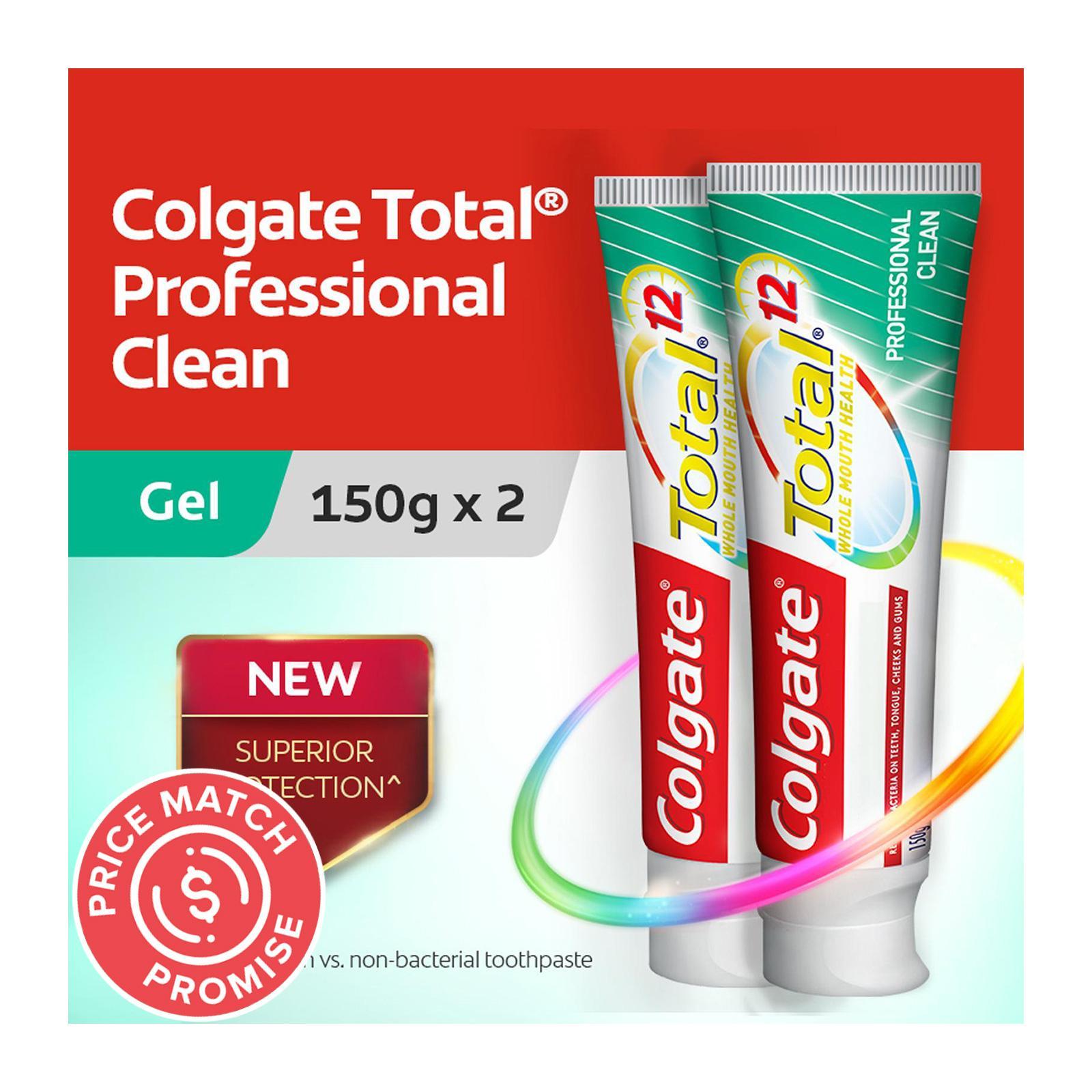 Colgate Total Professional Clean Gel Antibacterial Toothpaste Valuepack 150g x 2