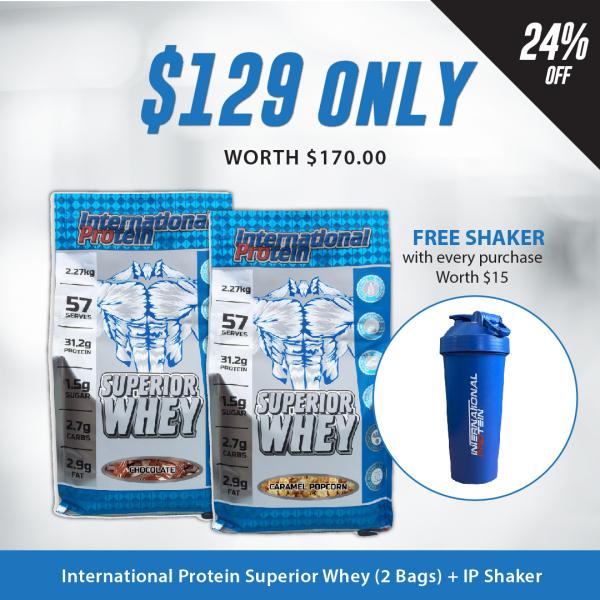 Buy [Bundle of 2 + FREE International Protein Shaker] International Protein Superior Whey (2.27kg) Singapore