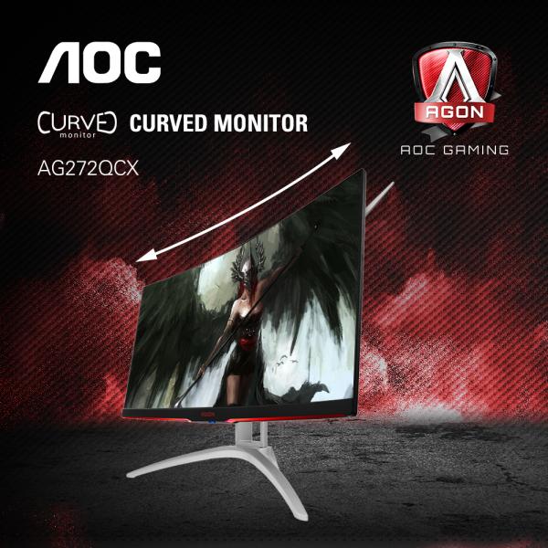 AOC AGON AG272QCX 27 inch WQHD 1440P 144Hz 4ms 120% sRGB LED Monitor w/ AMD Freesync Technology