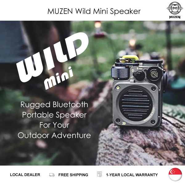 Muzen Wild Mini Rugged Outdoor Speaker, Military Style Bluetooth Portable Speaker with Louder Volume, Crystal Clear Sound, Wireless Water Resistant Speakers Singapore