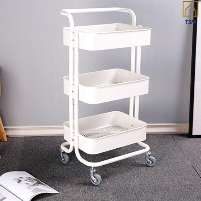 TSM 3 Tier Kitchen Trolley with Wheels 3 Types with Movable Wheels and Handle Bar for Home Salon Office