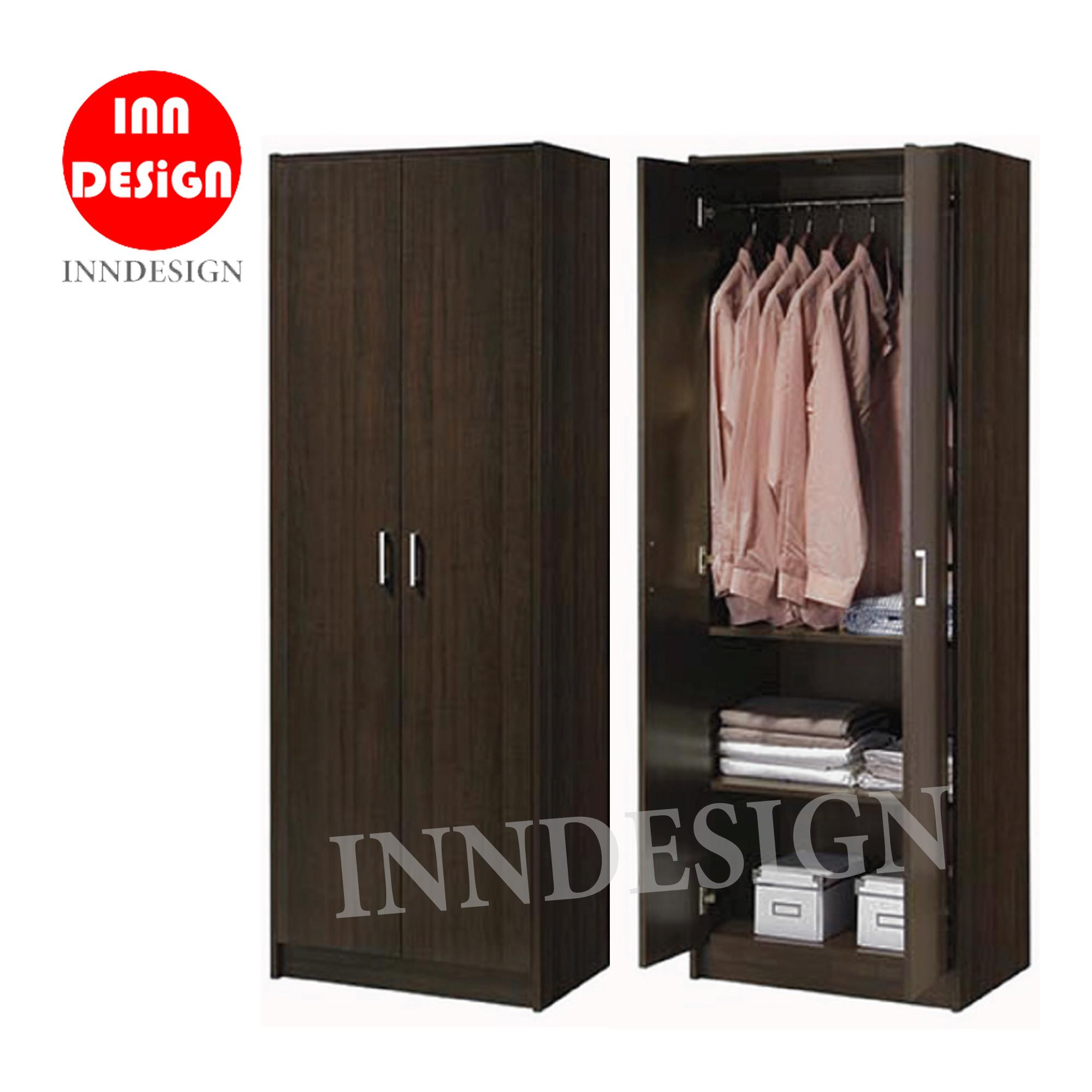 EVI 2 Doors Solid Compressed Wood Wardrobe With Metal Handle (Free Delivery and Installation)