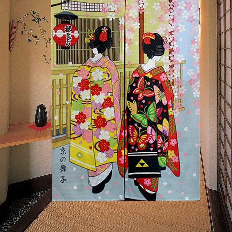 Japanese Style Long Doorway Curtain Kyoto Geisha Girls And Cherry Blossom Window Treatment Tapestry For Home Decoration 33.5 X 59 Inch