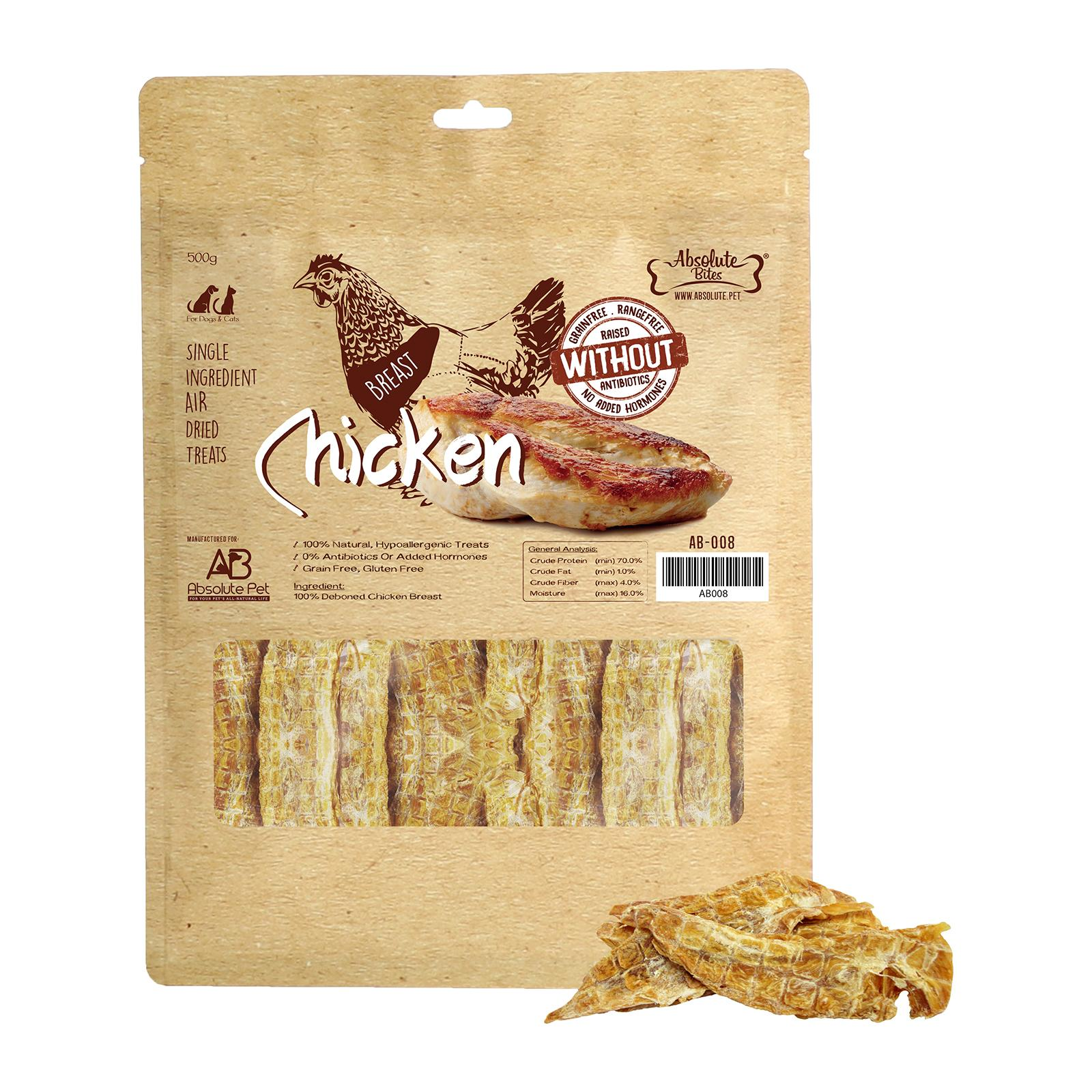 Absolute Bites Air Dried Chicken Breast 500g Dog Treats