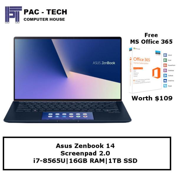 [Free MS Office 365] Asus Zenbook 14 (UX434FL-AI034T) Screenpad 2.0 | i7-8565U | 16GB RAM | 1TB SSD | 14 FHD | Windows 10 Home | 2 Year Warranty