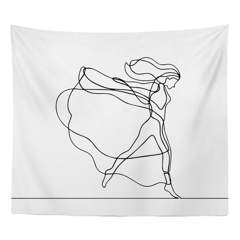 Modern Minimalist Abstract Line Figure INS Cloth Dormitory Background Cloth Living Room Sofa Paintings Bedside Background Cloth