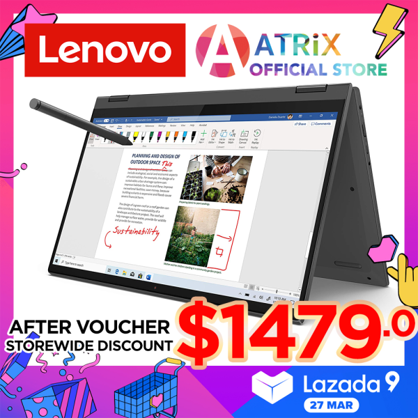 【Express Delivery】Lenovo Ideapad Flex 5 82HS002MSB | 14inch FHD IPS Touch Screen | i7-1165G7 | 16GB RAM | 512GB SSD | Win10 Home | 3Y Onsite+2Y ADP