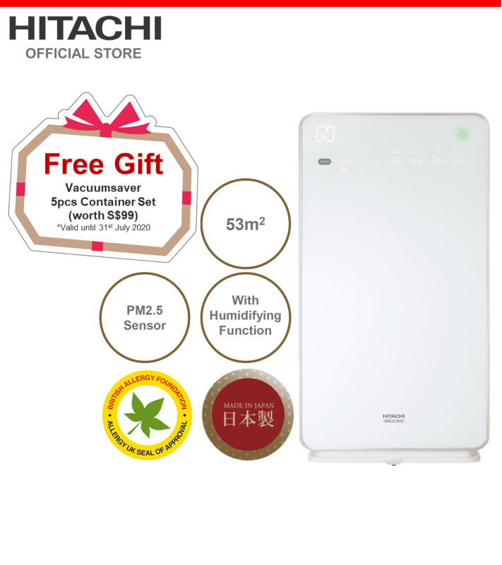 Made In Japan, Hitachi Air Purifier & Humidifier w/ Skin Moisturizing, PM2.5 Sensor, 53 metre square, EP-M70E Singapore