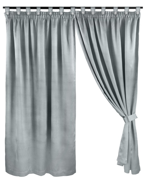 Ready Made Curtain, Dim Out, Silver, 3 Ways Hanging Options