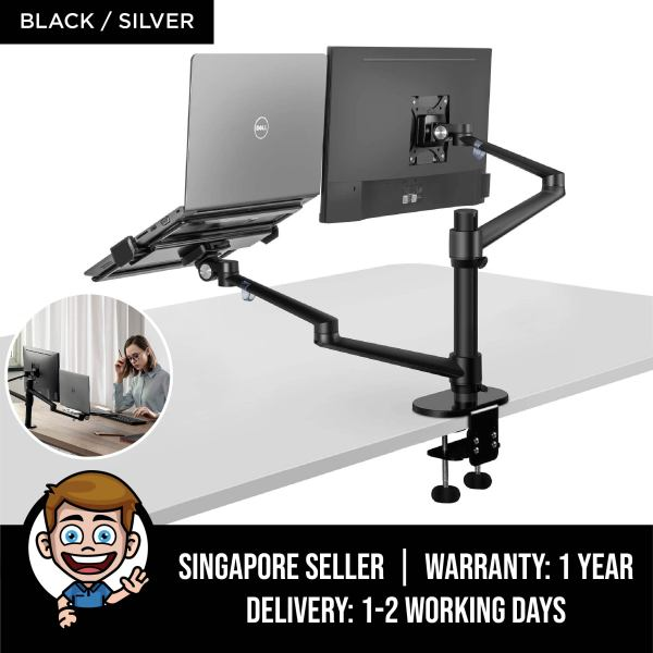Monitor and Laptop Mount, 2-in-1 Adjustable Dual Monitor Arm Desk Mounts,Single Desk Arm Stand/Holder for 17 to 32 Inch LCD Computer Screens, Extra Tray Fits 12 to 17 inch Laptops - Black / Silver