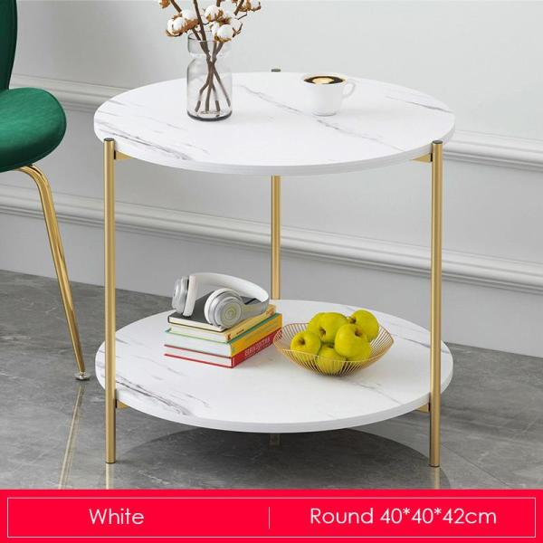 White Marble Print Gold Metal Contemporary Round Coffee Table