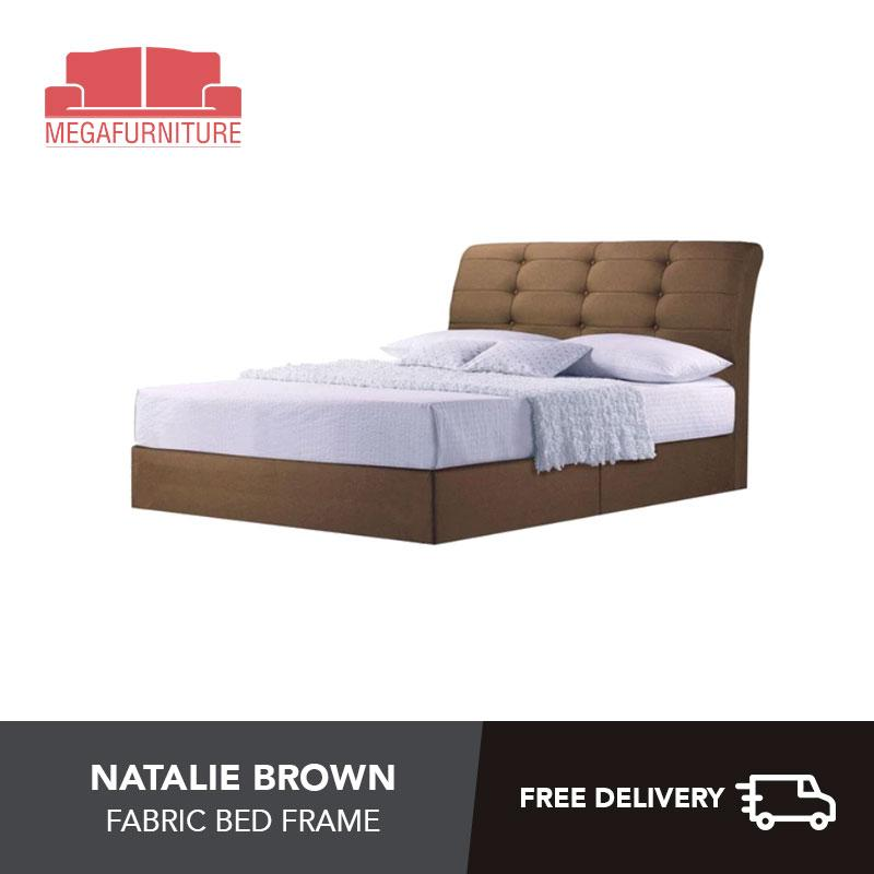 Natalie Brown Fabric Bed Frame -