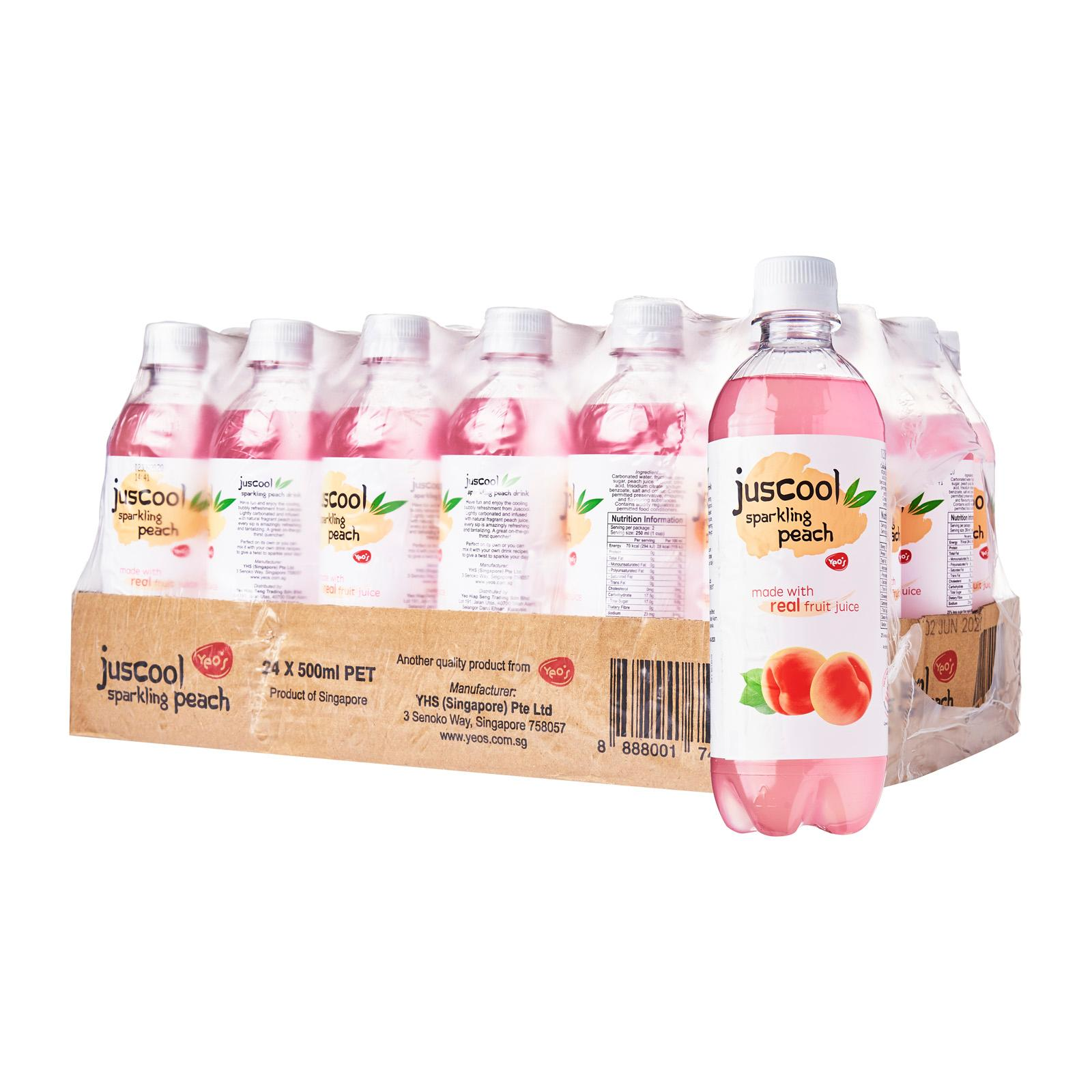 Yeo's Juscool Sparkling Fruit Juice Peach 24 x 500ml