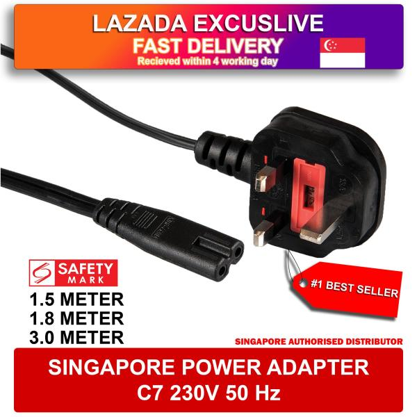 Safety Mark Singapore Plug Power Cord to to C7 Lead Power Cable (1.5 / 3.0 Meter) Figure 8 European Japan American Australian Power Cable UK Figure 8 AC Power Cord Radio Battery Chargers PSP 4 CD Play Laptop Charger Playstation Xbox Fan TV Adapter