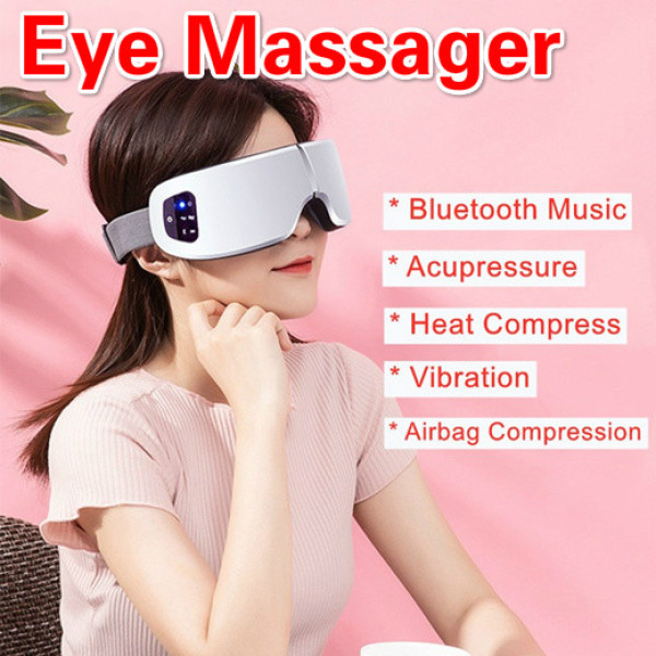Buy 🎄Christmas Gift🎄Smart Portable Eye Massager Eye Mask Fatigue Therapy Massage Multifunction Vibration Airbag Heating Relaxation Eye Protection Wireless Bluetooth Music Hot Compress 180° Folding Intelligent Air compression Singapore