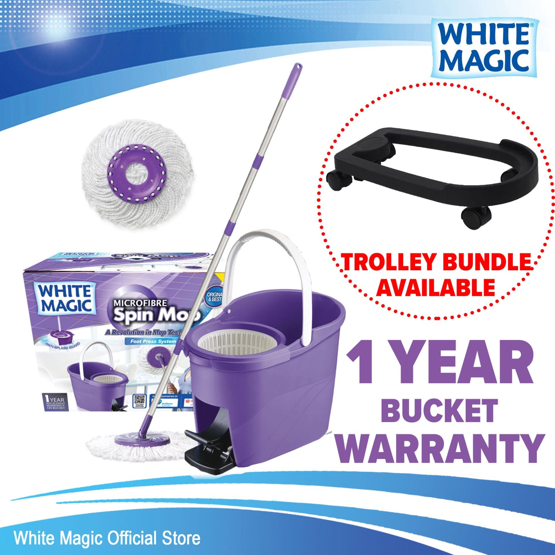 White Magic Foot Press Spin Mop Set (with 2 Free Mop Heads) / Trolley Bundle (add-On Available) / 1 Year Bucket Warranty By White Magic Official Store.