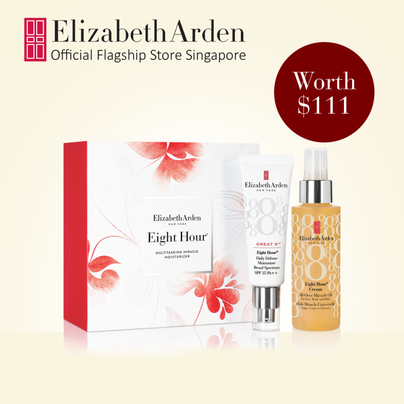 Buy Elizabeth Arden Eight Hour Great 8 Moisturizing 2pc Gift Set for All-In-One Skin Protection for Healthy-Looking, Glowing Skin: Great 8™ Daily Defense Moisturizer Broad Spectrum Sunscreen SPF 35 45ml,  All-Over Miracle Oil 100ml Singapore