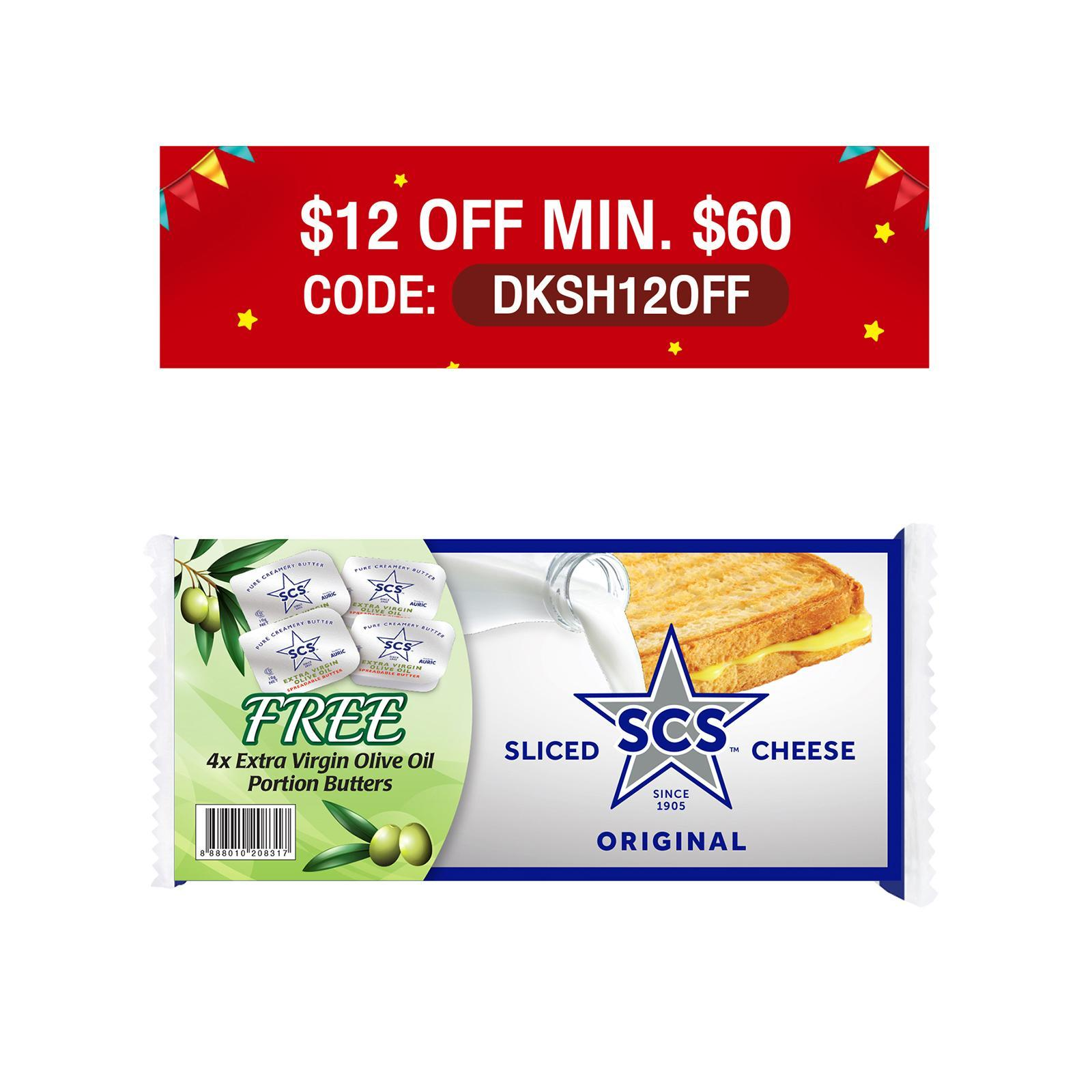 SCS Sliced Cheese Original With Free 4 x Extra Virgin Olive Oil Portion Butters