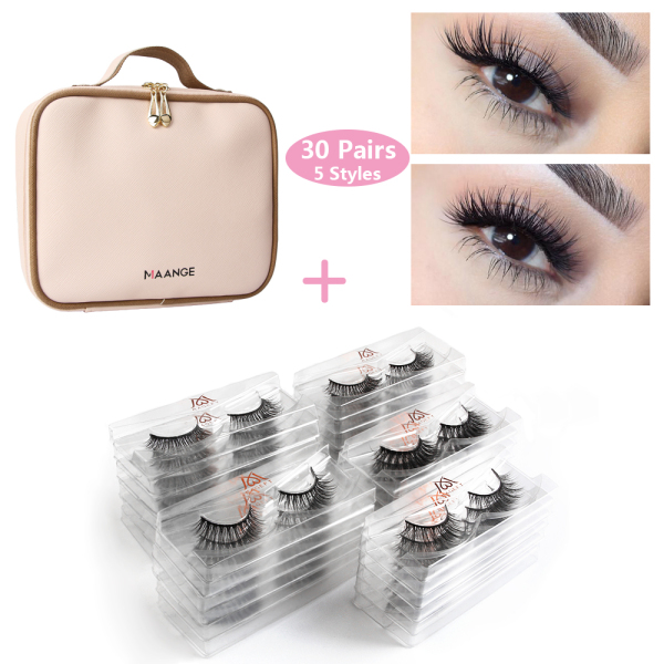 Buy 30 pairs Wholesale 3d Lashes Natural False Mink Eyelashes With Pink Makeup Bag Faux Mink Lashes Makeup Eyelash Extension Singapore
