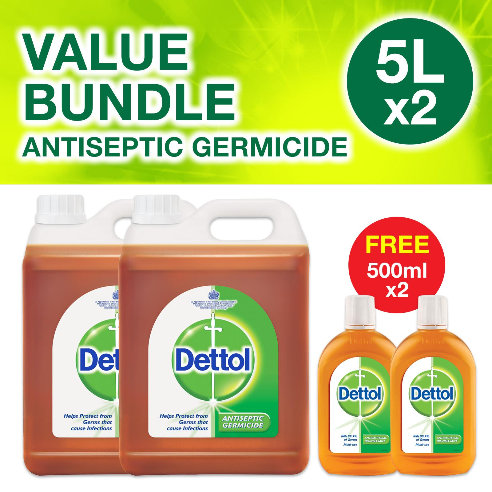 2 X Dettol Antiseptic Germicide 5l + 2 X Free 500ml By Dettol.
