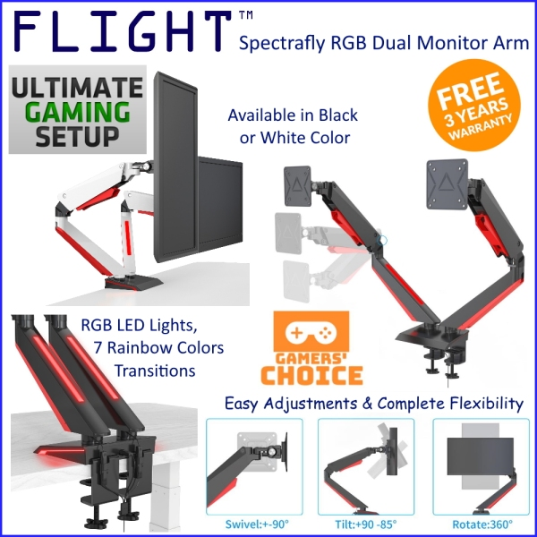 Flight™ Dual Spectrafly Monitor Arm LCD Arm Monitor Mount Vesa Monitor Stand Slim Design Come With RGB Lights Dynamic Spring Mechanism, International Vesa Compatible, 0.5-8kg, Cable Management Included, 360 Degree Monitor Rotation