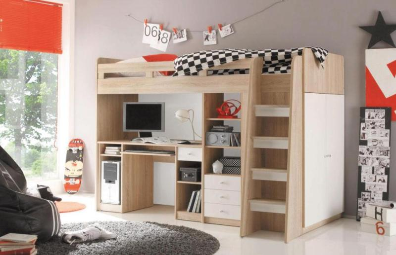 Loft bed with study table, wardrobe and bookshelves