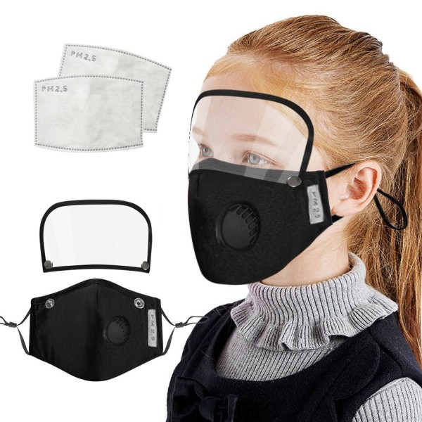 Kids Child Washable Reusable Face Face Shield With Filter And Detachable Eye Shield