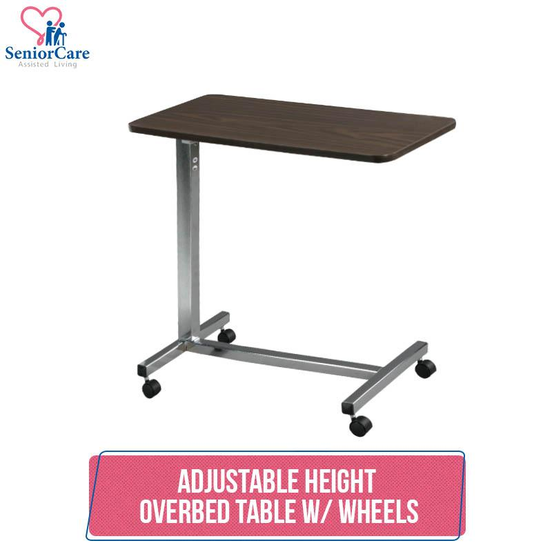 Height Adjustable Mobile Wooden Overbed Table With Wheels