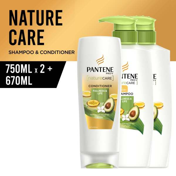 Buy [Bundle of 3] Pantene Nature Care Fullness & Life Shampoo 750ml x 2 + Conditioner 670ml Singapore