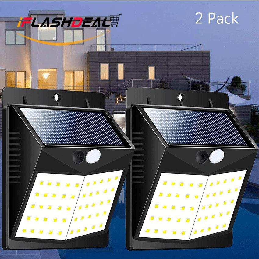 iFlashDeal Solar Lights Outdoor 50 LED Motion Sensor Lamp Solar Powered Panel 1800mA IP65 Waterproof Security Lighting, Front Door, Garden, Street, Yard, Garage, Driveway 2 Pack